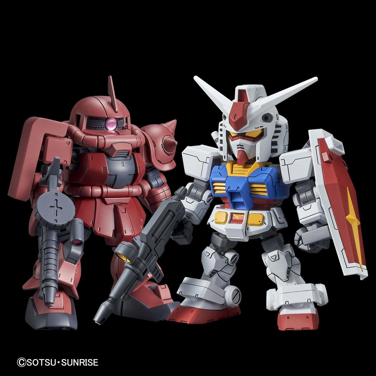 GUNDAM.MY: SD Gundam Cross Silhouette RX-78-2 Gundam & MS-06S ZAKU II landed