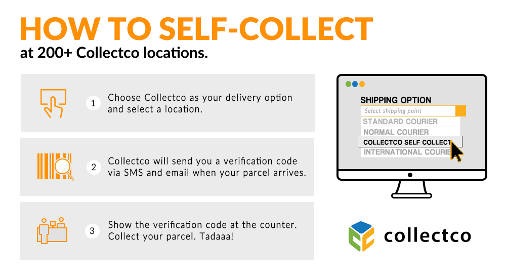 1. Choose to collect you parcel at any collection centers. 