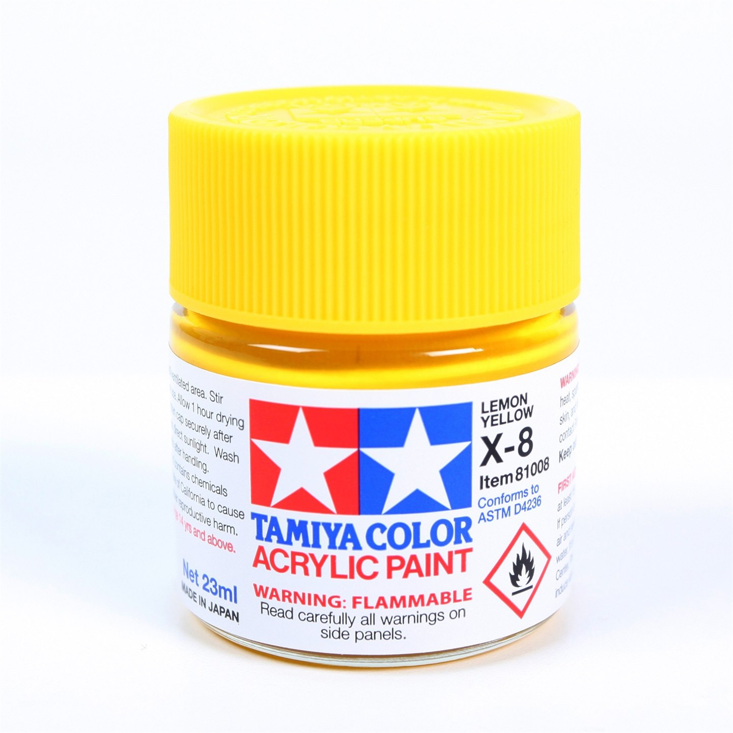 Tamiya Color Acrylic Paint X-08 (Lemon Yellow) (23ml)