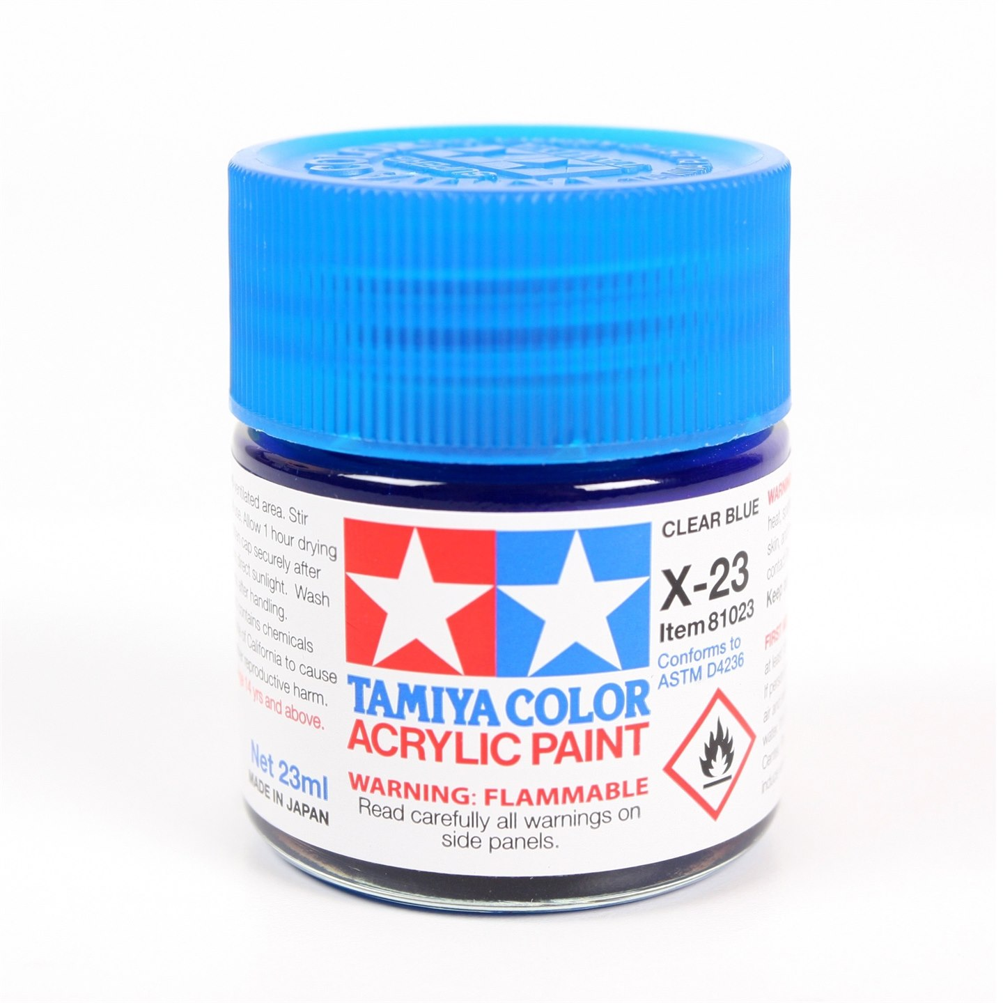 Tamiya Color Acrylic Paint X-23 (Clear Blue) (23ml)