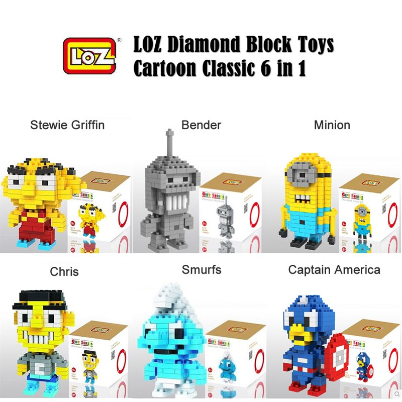 LOZ Diamond Block Toys - Cartoon Classic 6 in 1