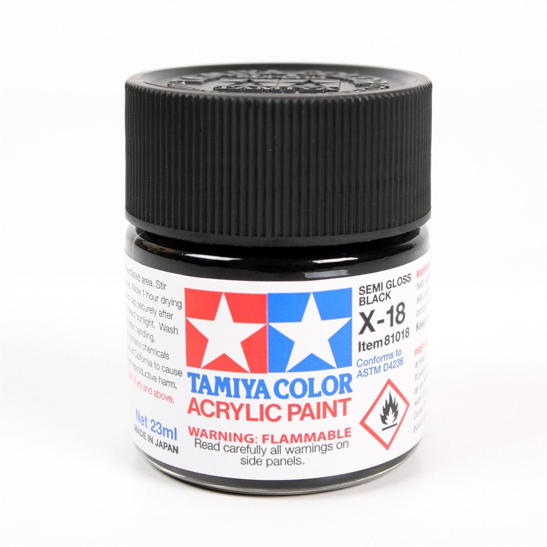 622dc4c03955 Tamiya Color Acrylic Paint X-18 (Semi Gloss Black) (23ml)