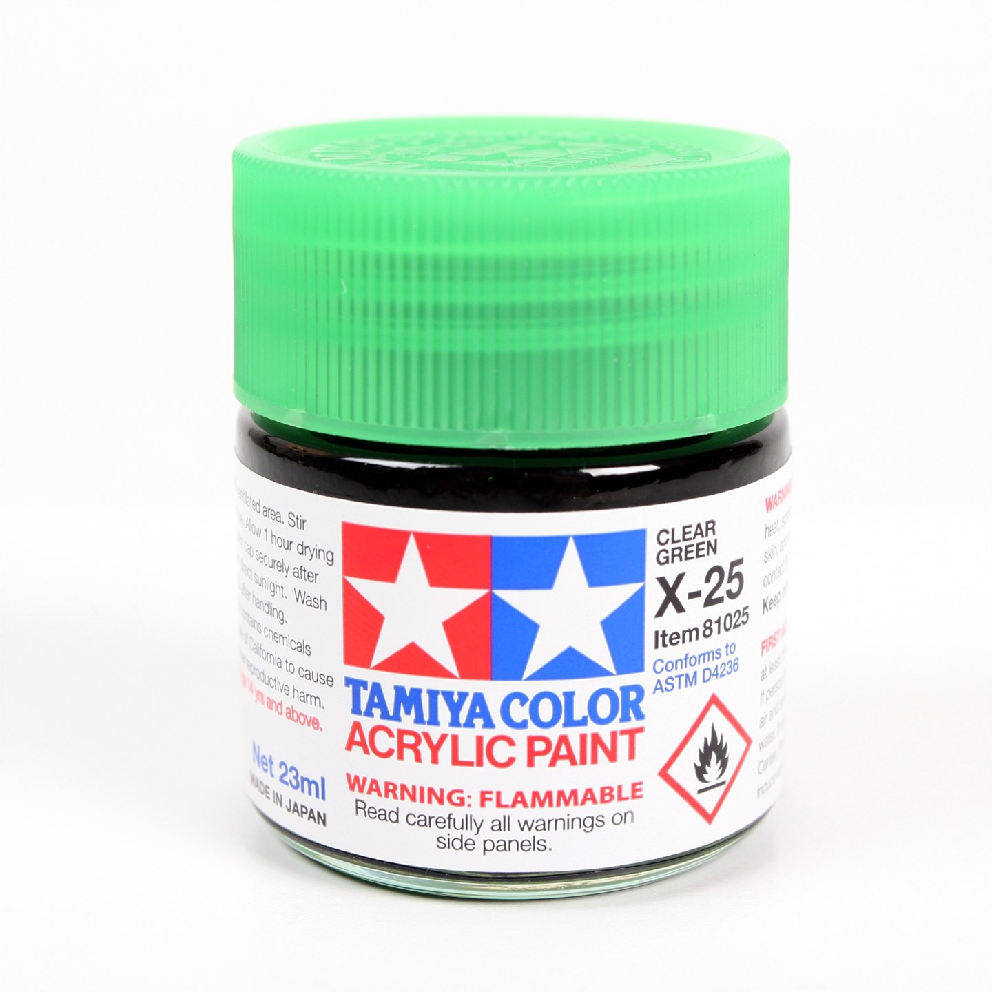 Tamiya Color Acrylic Paint X-25 (Clear Green) (23ml)