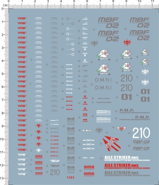 PG MBF-02 Strike Rouge Gundam water decal