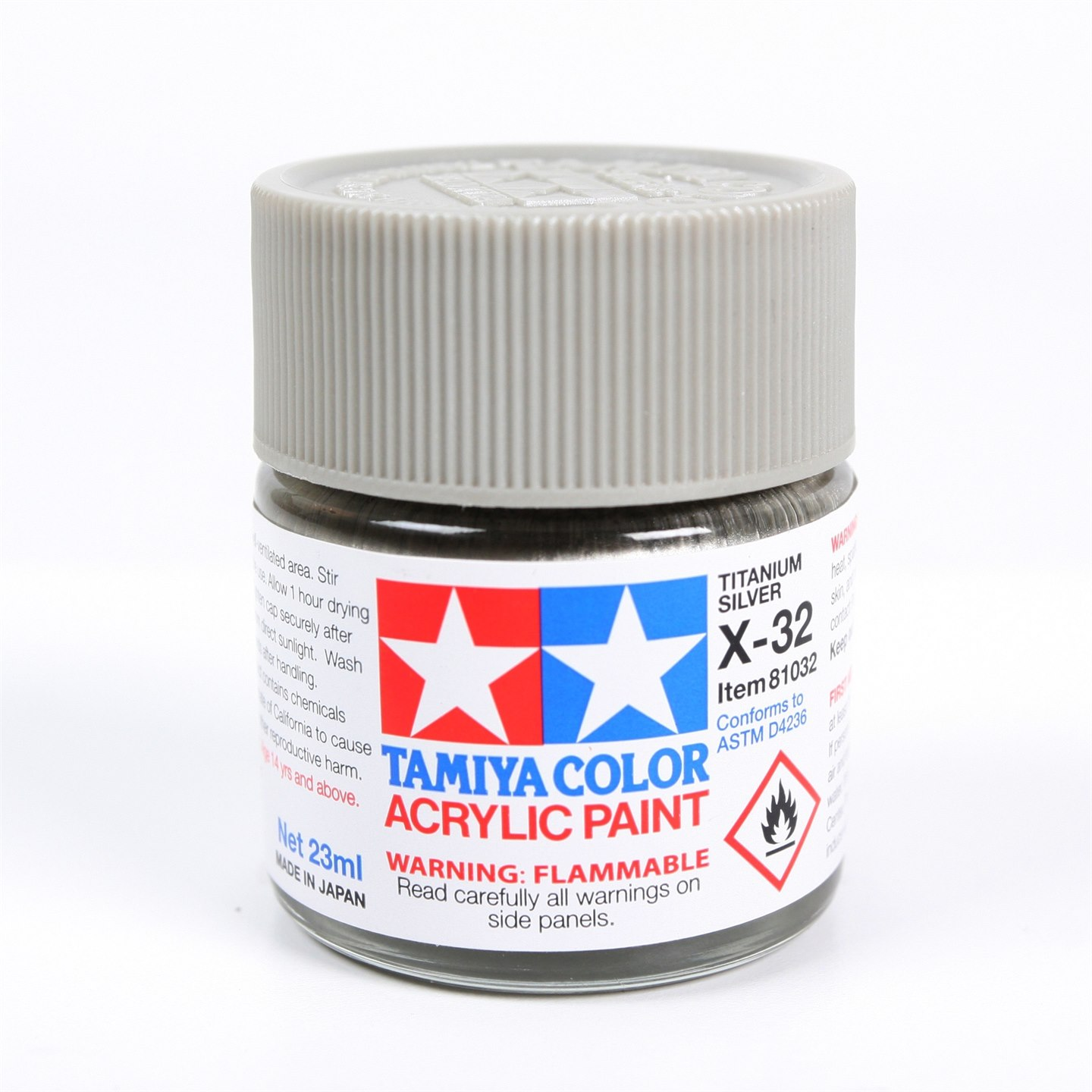 Tamiya Color Acrylic Paint X-32 (Titanium Silver) (23ml)