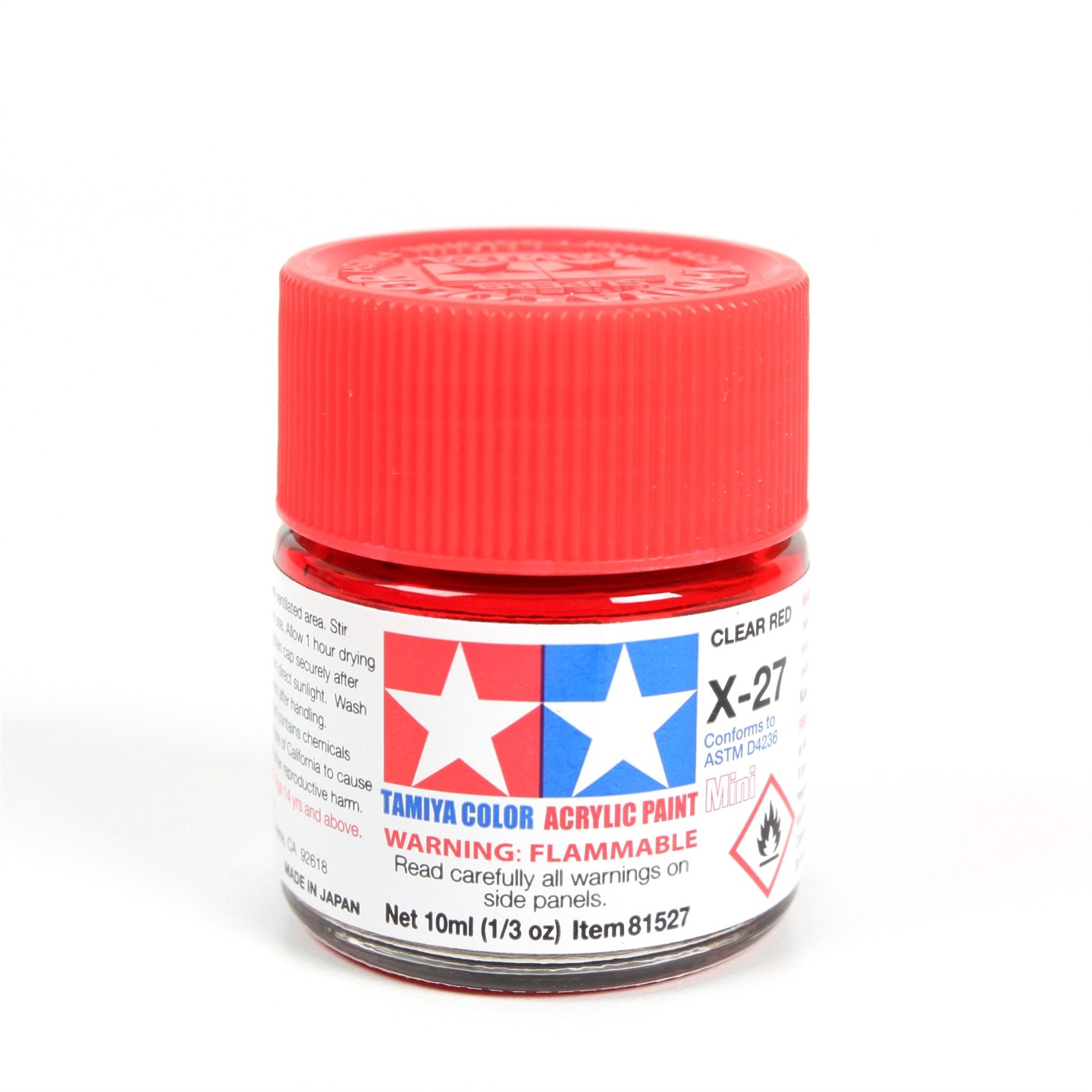 Tamiya Color Acrylic Paint Mini X-27 Clear Red (10ML)