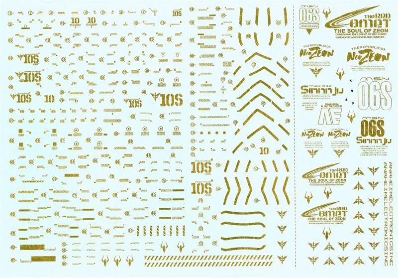 MG MSN-06S SINANJU Water Decal - GOLD