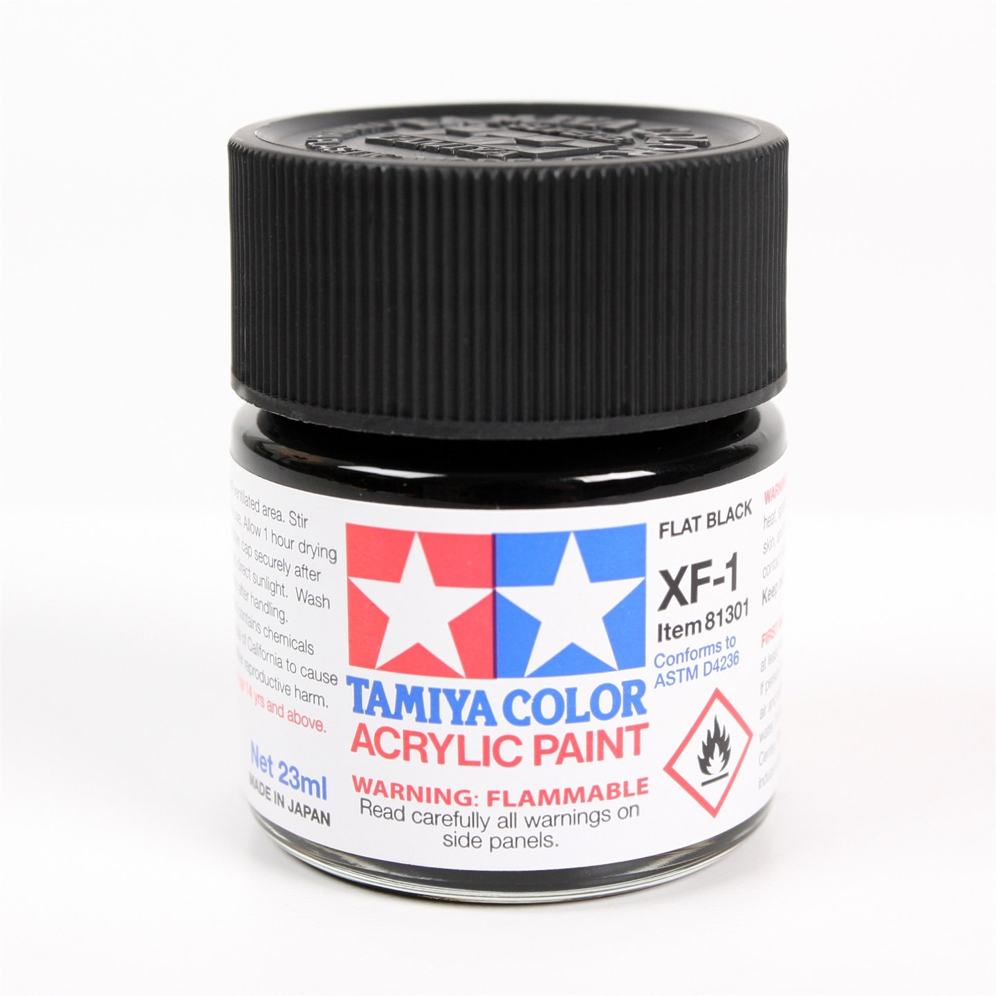 Tamiya Color Acrylic Paint XF-01 Flat Black (23ML)