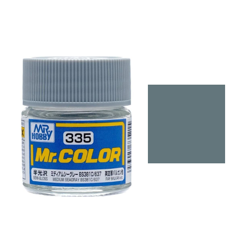Mr. Hobby-Mr. Color-C335 Medium Seagray BS381C/637 Semi-Gloss (10ml)