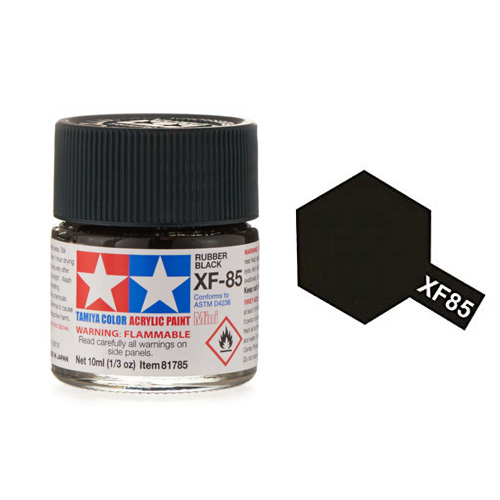 Tamiya Color Acrylic Paint XF-85 Rubber Black (10ml)