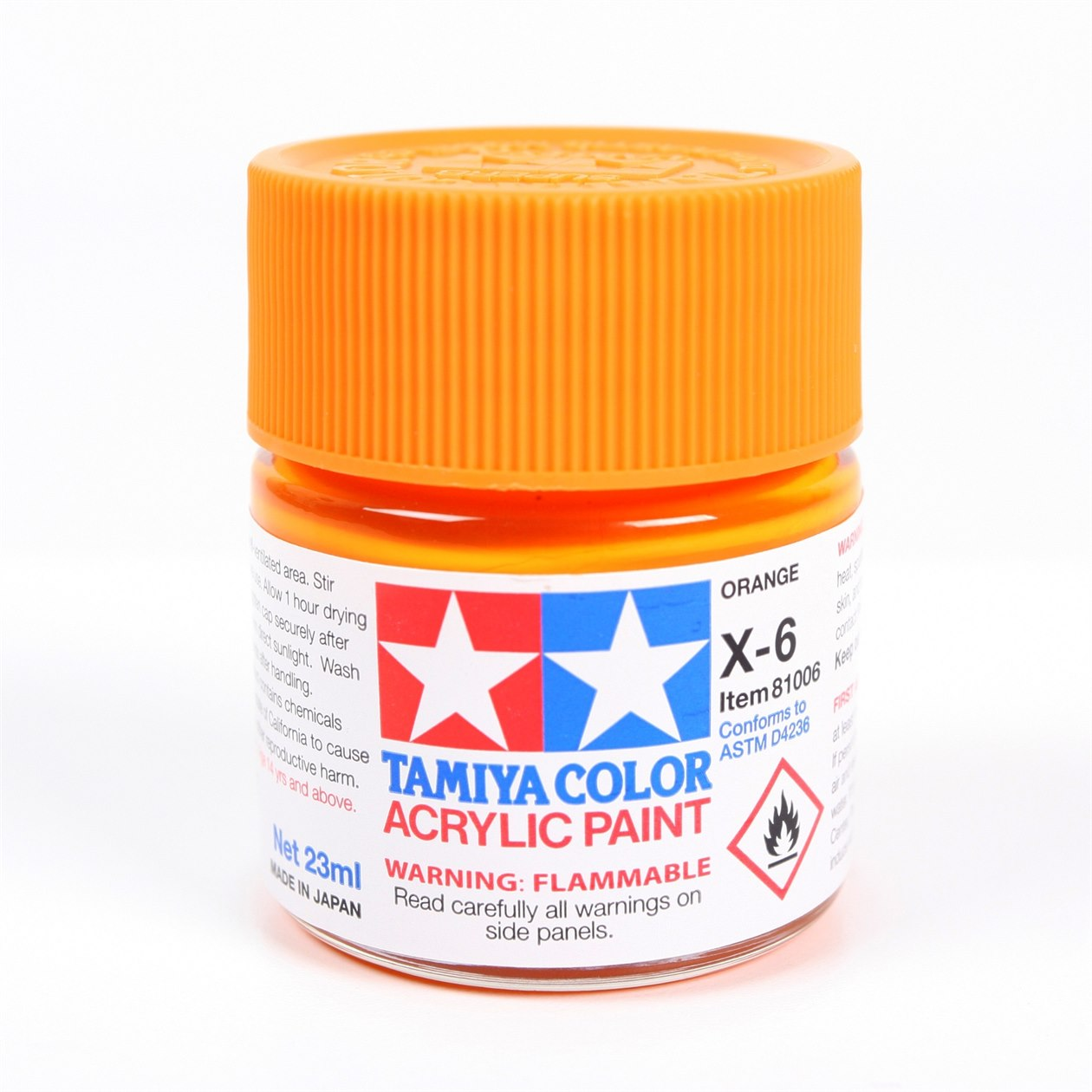 Tamiya Color Acrylic Paint X-6 (Orange) (23ml)