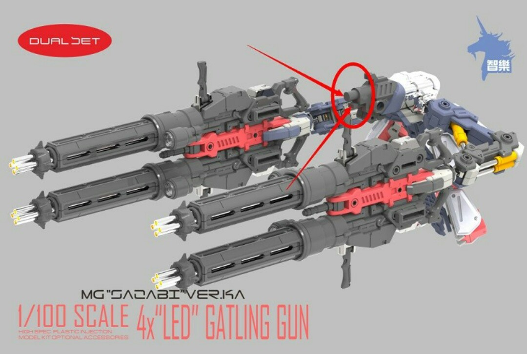 [CHILOK] Gatling Gun (4pcs set with LED) for MG 1/100 Sazabi ver. Ka