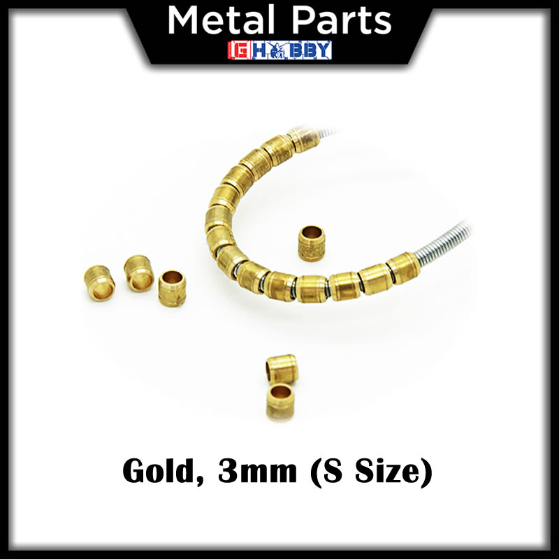 [Metal Part] 3mm S Energy Cable Tubes Pipes Metal Parts (Gold)