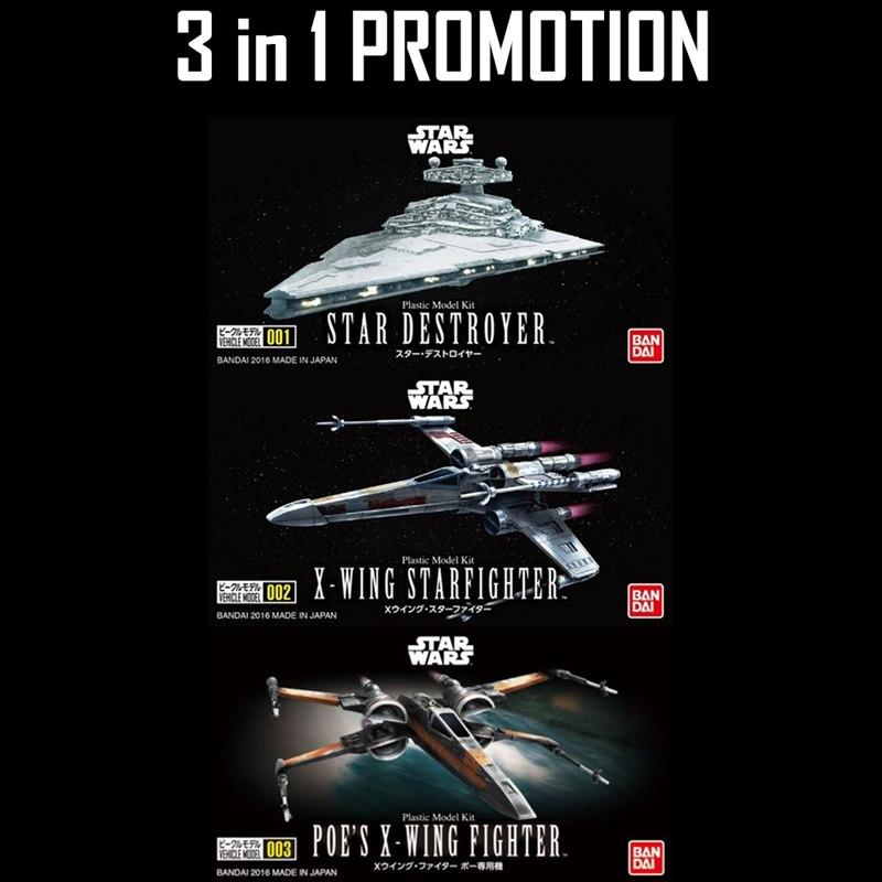 (3 in 1) Star Wars Vehicle Model 001,002 and 003 (Star Destroyer, X-wing,Poe X-wing)
