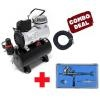 [HSENG] AF-186 Mini Airbrush Compressor with HS-29 Dual Action Top Gravity Feed Airbrush